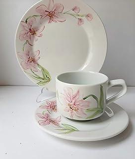 MaJe ceramista juego de café esmaltado porcelana pintada a mano orquídea rosa.
