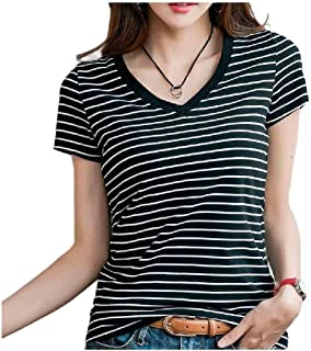 HEFASDM Women's V Neck Blouse Strip Plus Size Casual Short Sleeve Tees Top
