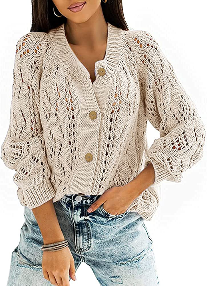 Dghaixing Womens Button Down Crochet Cardigan Sweater Long Sleeve Open Front Loose Knit Outerwear