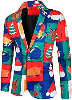 Men's 3D Printed Santa Costume Blazer Slim Fit One Button Christmas Jacket Prom Party Tuxedos Coat