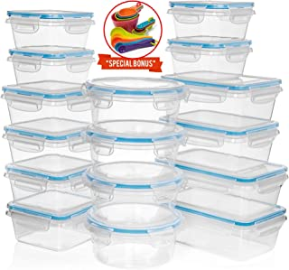 HUGE SET 32 pc (16 Pack) Food Storage Containers with Lids - Plastic Food Containers with Lids - Airtight Leak Proof, Easy Snap Lock Lunch Box, BPA-Free Plastic Storage Container Set, with BONUS
