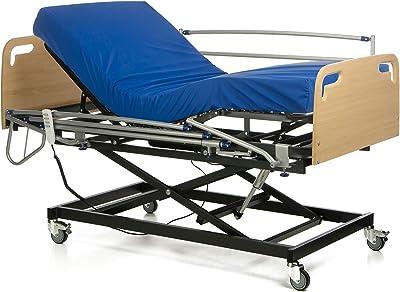 Ferlex - Cama articulada con Carro Elevador | Cabecero y Piecero | Colchón Sanitario viscoelástico | Barandillas abatibles (105x190)
