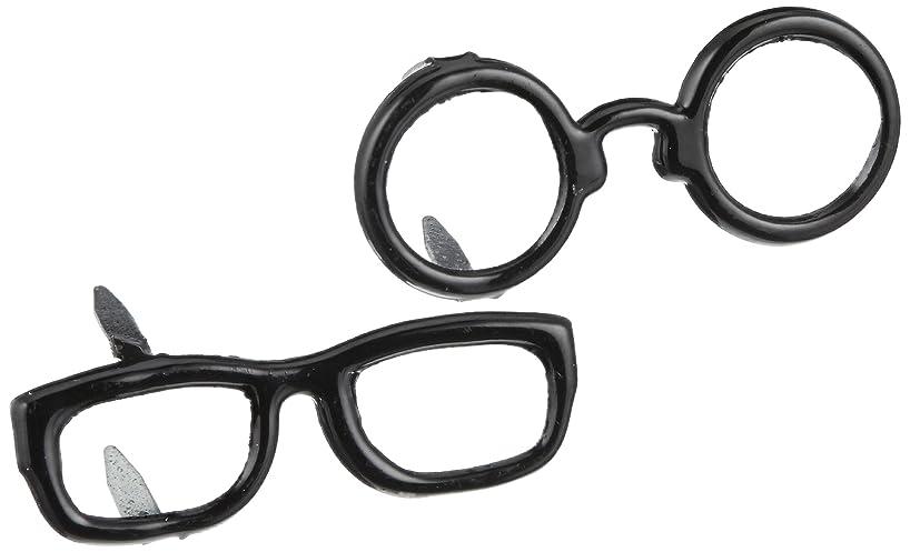 EYELET OUTLET Shape Brads-Black Glasses 12/Pkg