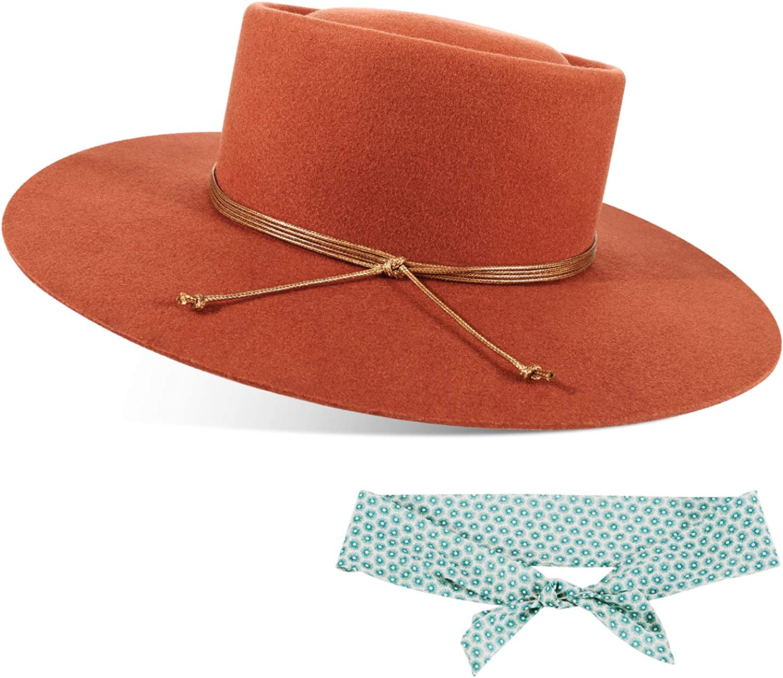 FEMSÉE Fedora Hats for Men Women 100% Wool Felt Hat Vintage Wide Brim Western Sun Hat with Brush or Two Tone Headbands