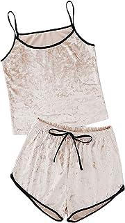 Conjunto de pijama de terciopelo de 2 piezas con tirantes delgados sin mangas y pantalones cortos para mujer
