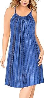 Women's Midi Beach Dress Summer Casual T Shirt Swing Dress Hand Tie Dye