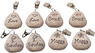 Lot de pompons de tables ToCi - Support de nappe en pierre au look plage, poids pour nappes, avec pinces Mehrfarbig