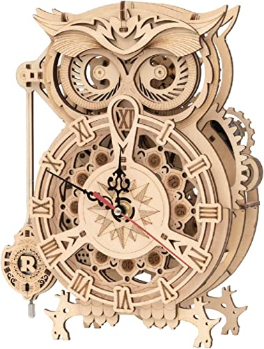 popular ROKR 3D Wooden Puzzle for Adults Owl Clock Model Kit discount Desk Clock Home lowest Decor Unique Gift for Kids on Birthday/Christmas Day online