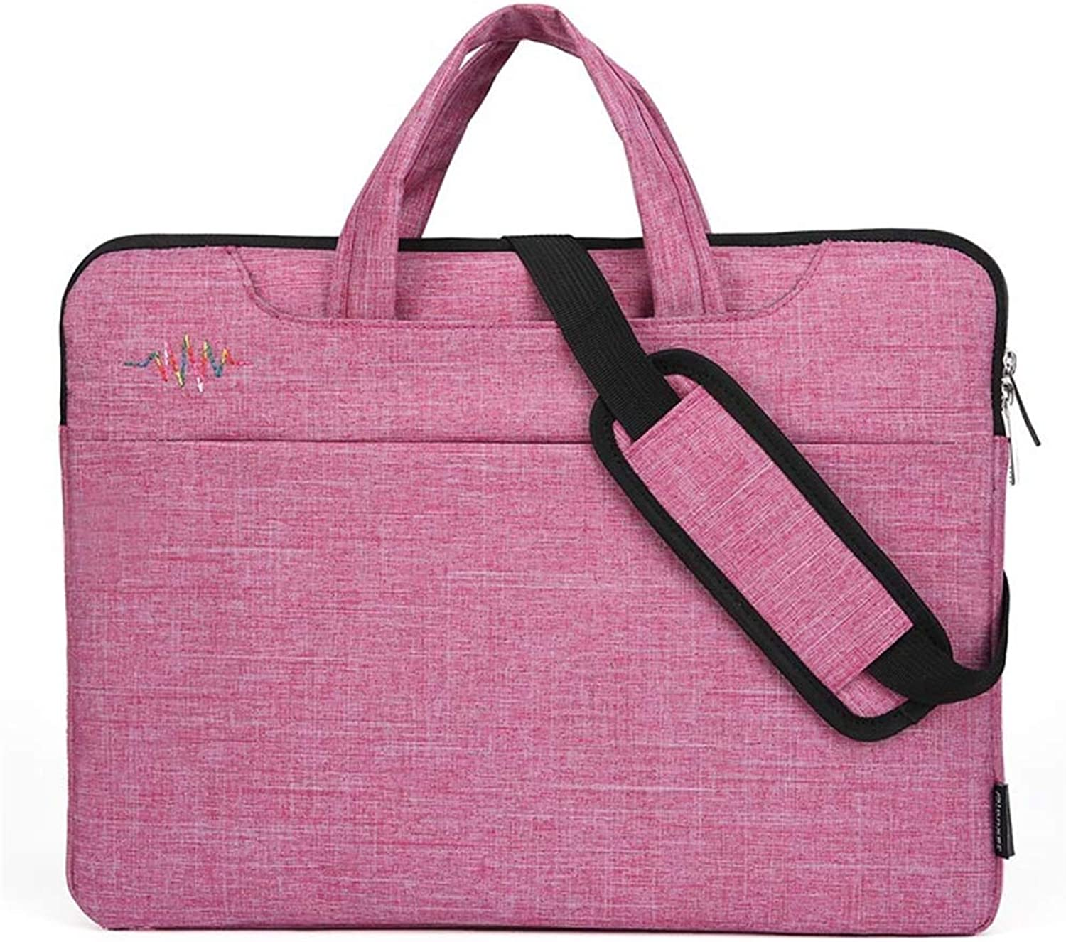 Laptop Bag Briefcase Shoulder Messenger UltraThin Waterproof Tablet Business Handbag Ladies and Men's Computer case Portable Laptop with to for Office Travel,Pink