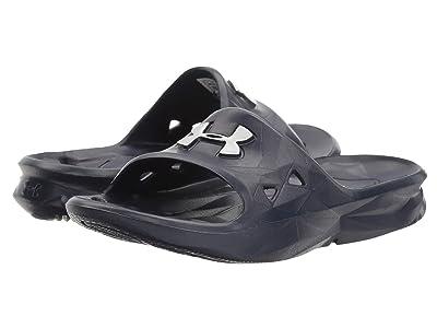 Under Armour Kids UA Locker III Slide (Little Kid/Big Kid) (Midnight Navy/Metallic Silver) Boys Shoes