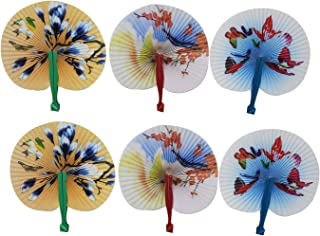 Folding Hand Fans Japanese Design for Women (6 Pack) Decorative Handheld Personal Mini Fans
