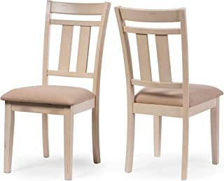Baxton Studio Set of 2 Roseberry Chic French Country Cottage Antique Oak Wood and Distressed White Dining Side Chair