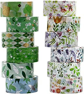 BOMEI PACK マスキングテープ かわいい 緑の春 12個 幅15mm、長さ3m 和紙テープ DIY