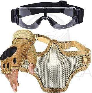 9a7a3a44c Kit Luva Tática Meio Dedo Airsoft + Óculos X800 + Máscara Telada - Bege