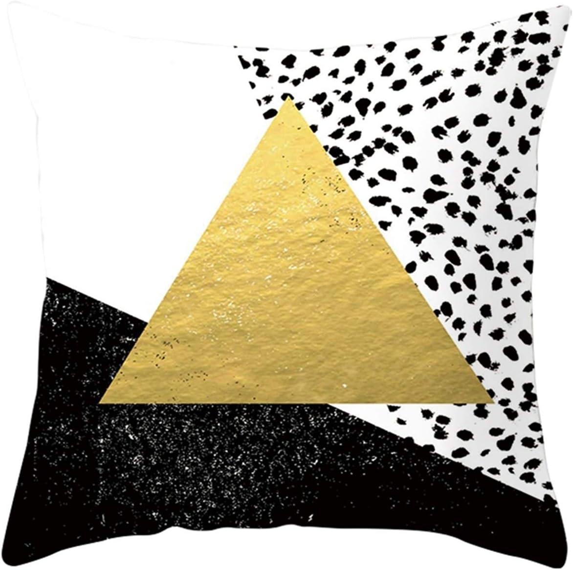 KnBoB Funda de Almohada Puntos Triangulares Poliéster Blanco Negro Amarillo 40 x 40 cm Estilo 33