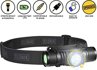 SLONIK - Adjustable beam - 500 Lumen Rechargeable LED Headlamp 2200 mAh Battery - Lightweight, Durable, Waterproof and Dustproof Headlight - Xtreme Bright 600 ft Beam - Camping and Hiking Gear