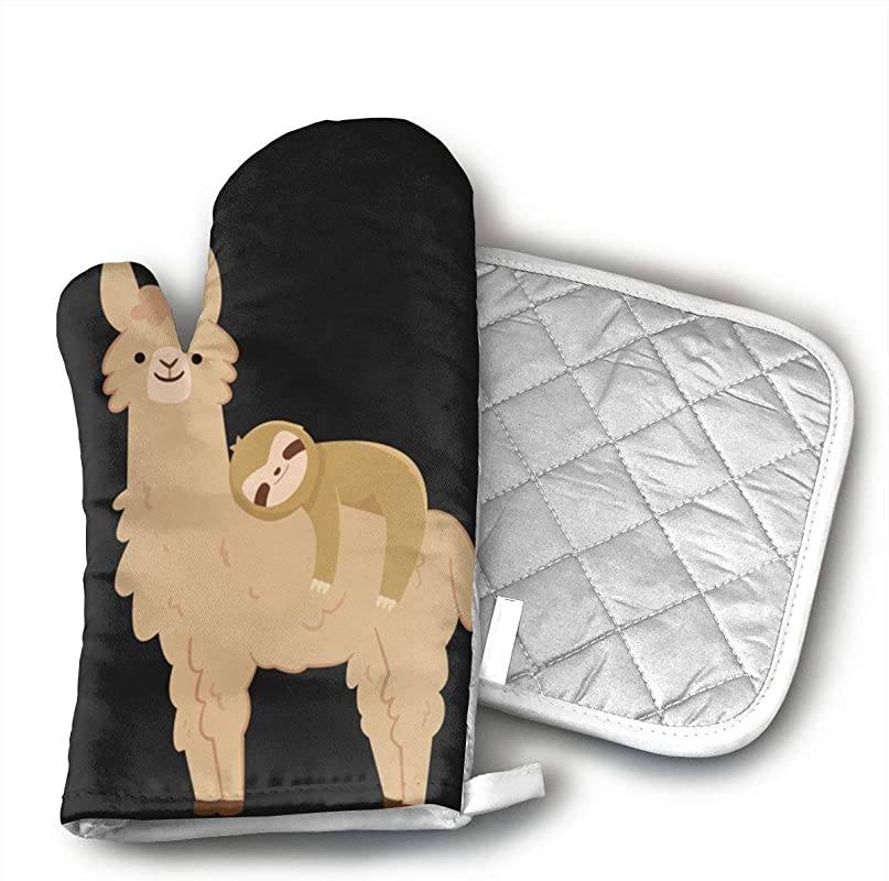 Insulation83 Sloth Laying On A Llama Oven Gloves Non Slip Kitchen Oven Mitts Heat Resistant Cooking Gloves For Cooking Baking Barbecue Potholder