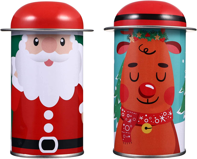 YARDWE 2pcs Christmas Cookie Max 65% OFF Gift Tin Santa Metal C Department store Box Reindeer