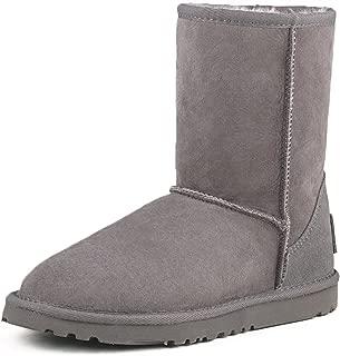 Ausland Women's Waterproof Snow Boot,Mid-Calf Sheepskin Winter Shoe 9125