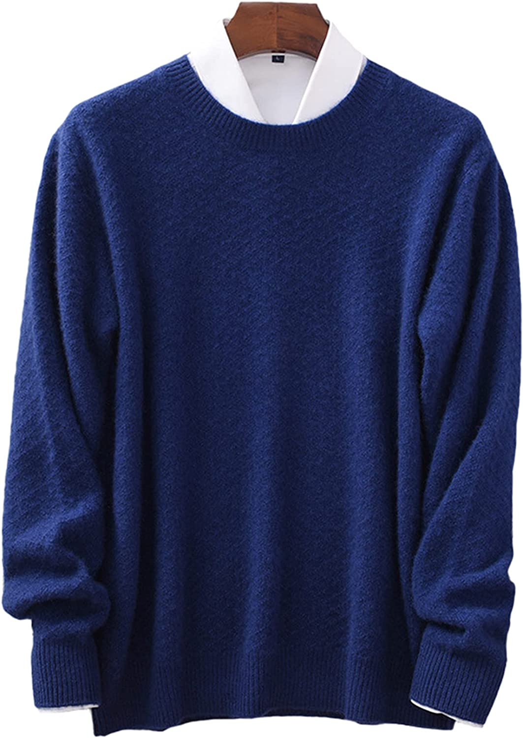 Men's Crewneck Cashmere Sweater Solid Color Twist Thicken Mid-Length Business Casual Large Size Pullover Daily