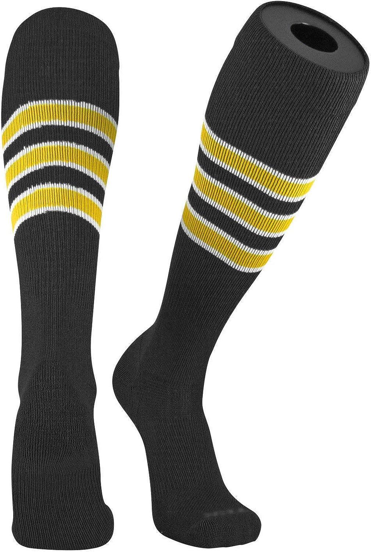 TCK Pro Elite Pirates Black, White, Gold Knee-High Long Striped Socks (Medium, Pirates)