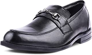 Kanprom Men's Black Genuine Leather Formal Moccasins Round Toe Slip On Shoes