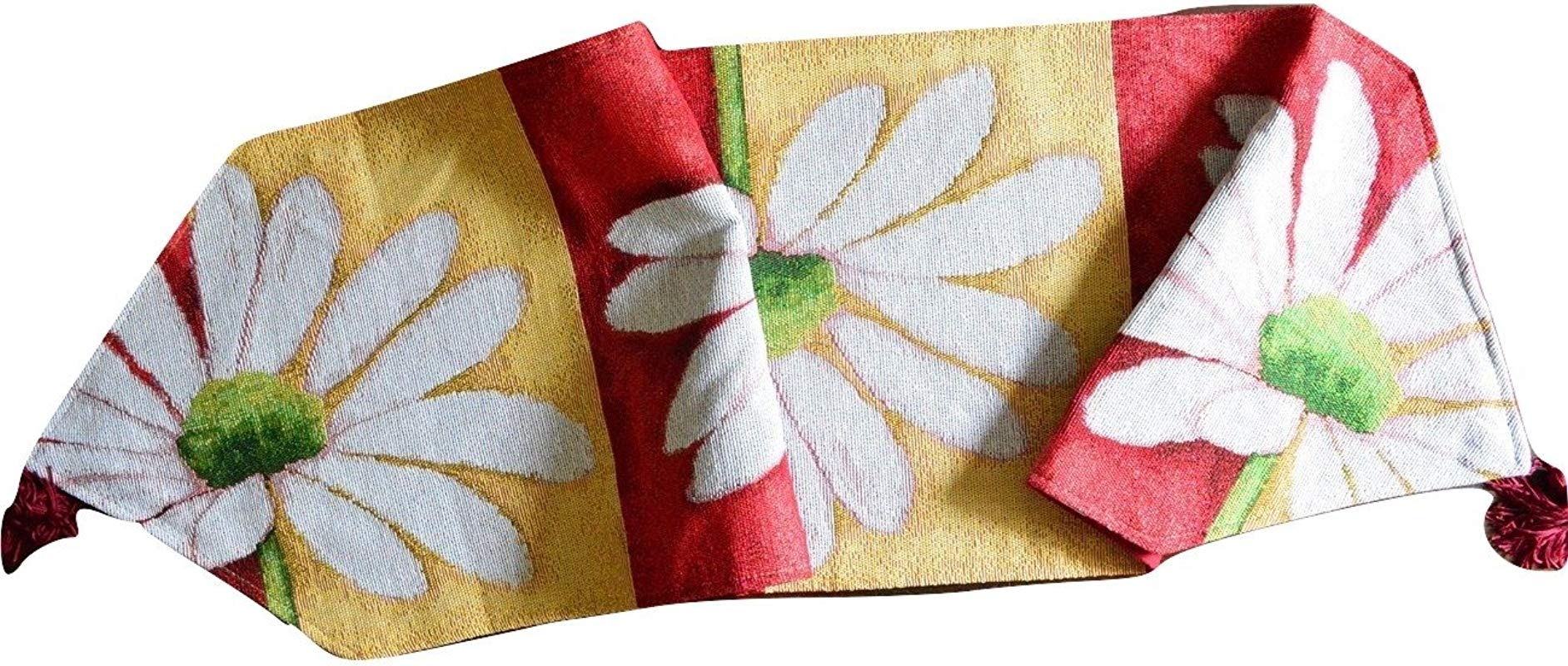 Tache Home Fashion DB9046TR 13X67 Colorful Decorative Spring Summer Daisy Flower Loves Me Not Floral Kitchen Dining Table Runner Linen 13x67 Multi Red Yellow White