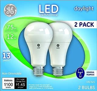 GE Lighting 21758 Light Bulb General Purpose Daylight A21 LED 12 (75-Watt Replacement), 1100-Lumen Medium Base, 2-Pack