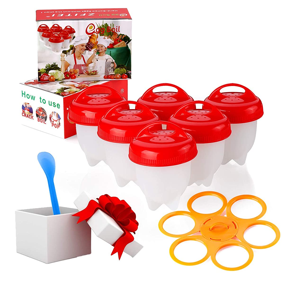 Egg Poacher, 6 pcs and Prevent rollover egg cooker holder, Boiled Eggs No shell,hard&Soft Maker, BPA Free,Non Stick Silicone, the holder compatible with most of the same type of products, by ZFITEI.