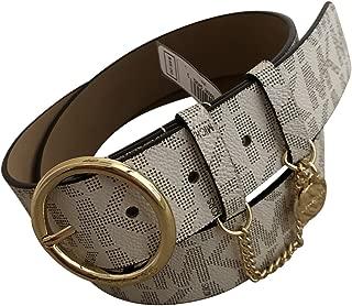 MIchael Kors Womens Logo Charm Wide Belt Vanilla Ivory L