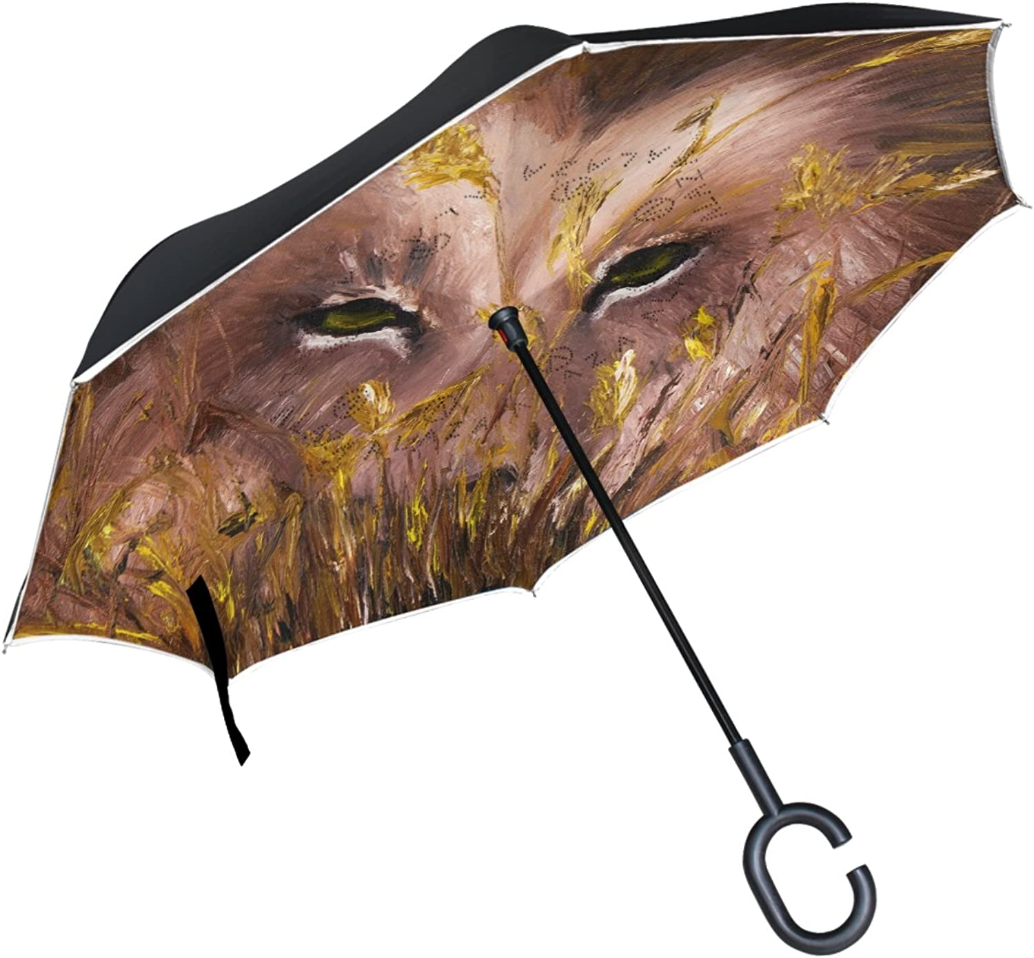 ALAZA Wolf Eyes Floral Grass Painting Ingreened Umbrella Double Layer Windproof Reverse Folding Umbrella for Car With C-Shape Handle
