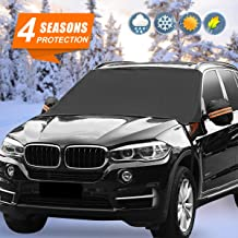 "【2019 New】Car Windshield Snow Ice Cover, Extra Large Universal Waterproof No Scratches Snow Cover Wiper Protector with Side Mirror Covers and fixed hook for Most Cars,Trucks,Vans and SUVs (87""× 50"")"