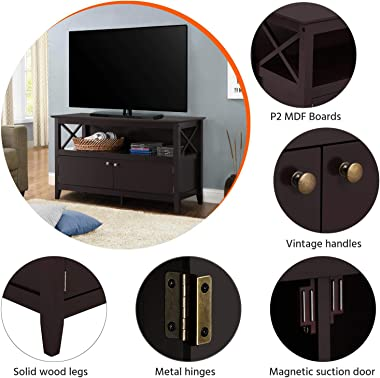 Yaheetech X Shape Wooden TV Stand for TVs Up to 50 in, Base Console Storage Cabinet Home Media Entertainment Center with 2 St