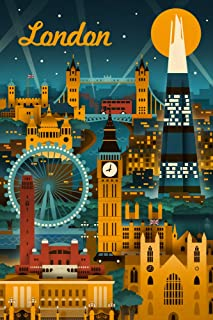 London, England - Retro Skyline (9x12 Art Print, Wall Decor Travel Poster)
