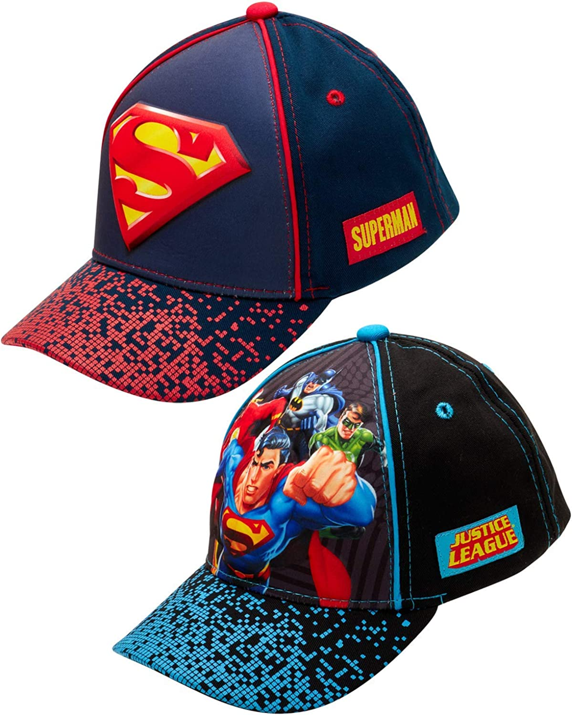 DC Comics Boys 2 Pack 3D Pop Baseball Cap: Batman, Superman, Justice League (Toddler/Little Boys)