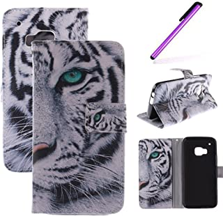 HTC One M9 Case,LEECOCO Fancy Color Print Floral Pattern Wallet Case with Card / Cash Slots [Kickstand] Shockproof PU Leather Folio Flip Slim Protective Case Cover for HTC One M9 White Tiger