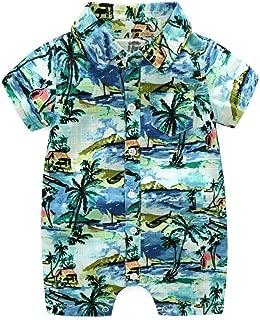 Newborn Baby Boy Bodysuit Romper Beach Floral Coconut Tree Printed Summer Hawaiian Outfits
