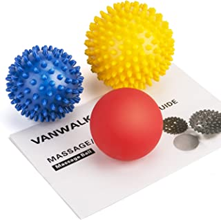 VANWALK Spiky Massage Ball and Lacrosse Balls - 3 Pack - Foot/ Back/Neck/Hand Tissue Massage and Yoga Massager Tools - Improve Reflexology, Myofascial Release, Plantar Fasciitis Pain Relief