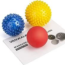 VANWALK Spiky Massage Ball and Lacrosse Balls - 3 Pack - Foot/Back/Neck/Hand Tissue Massage and Yoga Massager Tools - Improve Reflexology, Myofascial Release, Plantar Fasciitis Pain Relief
