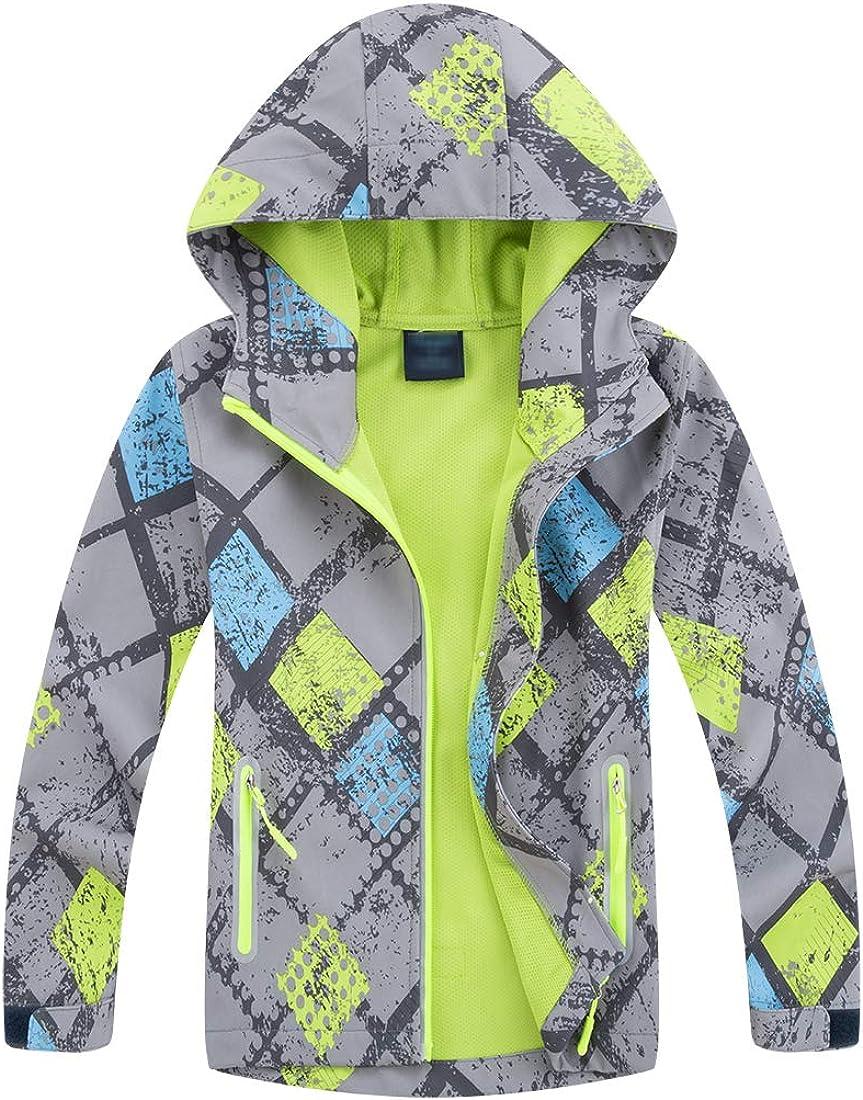 TLAENSON Girls Rain Jacket Fleece Lined Outdoor Windproof Windbreaker with Hood