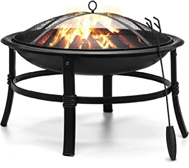 KINGSO Fire Pit, 26'' Fire Pits Outdoor Wood Burning Steel BBQ Grill Firepit Bowl with Mesh Spark Screen Cover Log Gr