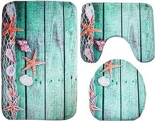 Best Moolecole Beach Seashells Starfish Sand Bath Mat Holidays Summer Bathroom Carpet Rug Non-Slip 3 Piece Toilet Mat Set Starfish Floor Review