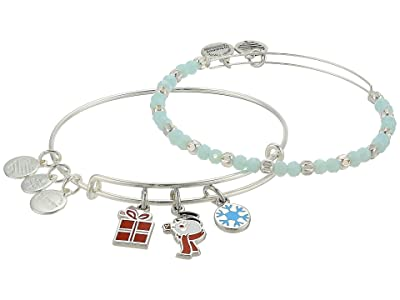 Alex and Ani Frosty the Snowman Set of 2 Bangle Bracelet (Shiny Silver) Bracelet