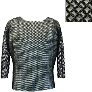 Brass Nautical - Medieval Chain Mail/Chainmail Shirt Full Size Chainmail Armor Medieval Costume LARP Black