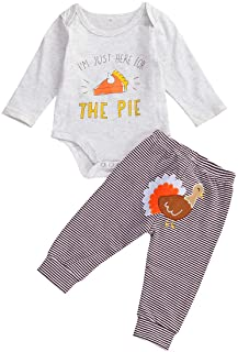 Newborn Baby Girl Thanksgiving Outfit Set Infant Romper+ Pants+ Headband 3Pcs Pajamas Onesie