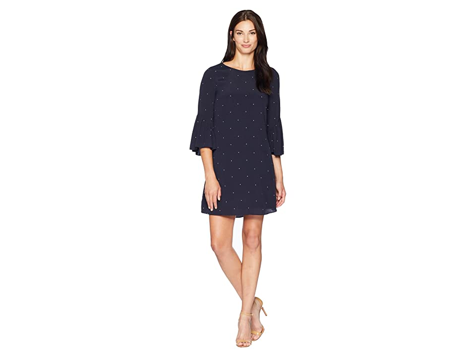 Vince Camuto Elbow Ruffle Sleeve Soho Pindot Dress (Classic Navy) Women