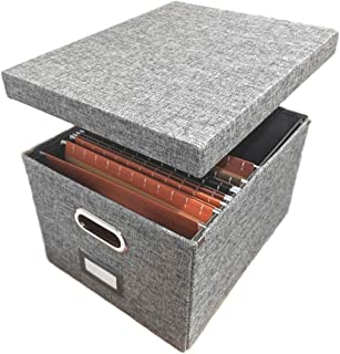 Linen File Storage Box Includes 10 Legal Hanging Files - Collapsible Easy Filing Organizer with Lid - Steel Glides Fit Perfectly (Legal Size)