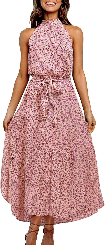 Colorado Springs Mall TEMOFON Women's Dresses Halter Neck Prin Boho Floral Max 86% OFF Maxi Summer