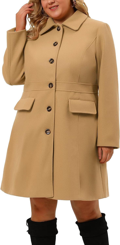 Agnes Orinda Plus Size Coats for Women Peter Pan Collar Faux Fur Single Breasted Winter Long Coat