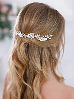Barogirl Bride White Flower Wedding Hair Pins Clips Rhinestone Silver Bridal Hair Piece Accessories for Women, Set of 3
